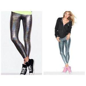 VS Pink Holographic High Waist Leggings Medium